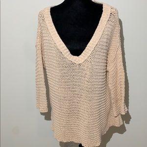 Free people oversized sweater open knit pale pink